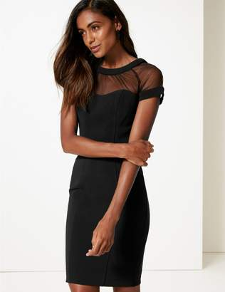 Marks and Spencer Mesh Short Sleeve Bodycon Midi Dress