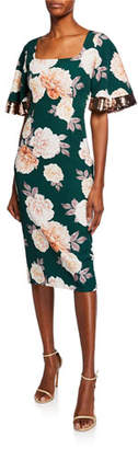 Sachin + Babi Abigail Floral-Print Square-Neck Dress w/ Sequin Trimmed Sleeves