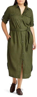 Lauren Ralph Lauren Plus Casual Belted Shirtdress
