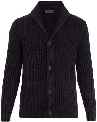 Iris von Arnim Shawl-collar ribbed-knit cashmere cardigan