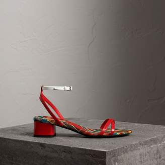 Burberry Tartan and Patent Leather Block-heel Sandals