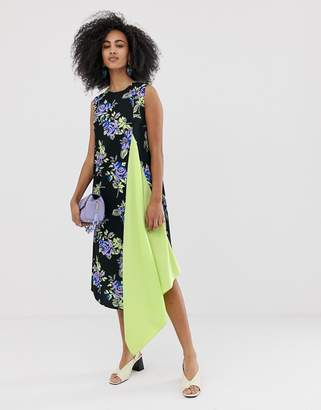 Asos sleeveless dress with lime pleat front