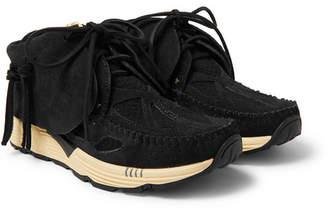 Visvim Fbt Prime Runner Suede And Mesh Sneakers