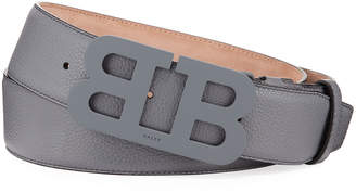 Bally Men's Mirror B Leather Belt, Gray