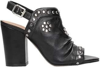 Julie Dee Studs Black Leather Mules