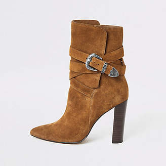 River Island Brown suede western heeled boots