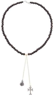 Catherine Michiels rose & crucifix beaded necklace