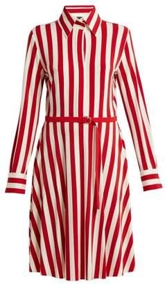 Norma Kamali Striped Shirtdress - Womens - Red White