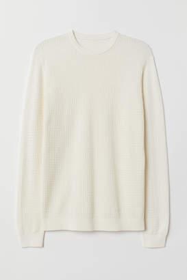 H&M Premium Cotton Sweater - White