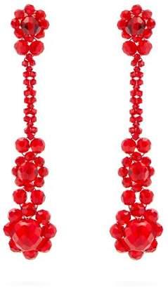 Simone Rocha Beaded Tassel Drop Earrings - Womens - Red