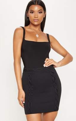 PrettyLittleThing Black Plait Detail Mini Skirt