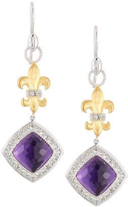 Jude Frances Fleur & Amethyst Quartz Drop Earrings