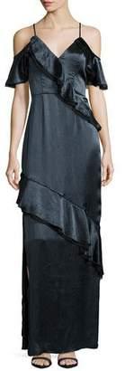 ABS by Allen Schwartz Ruffled Crinkle-Satin Gown, Teal