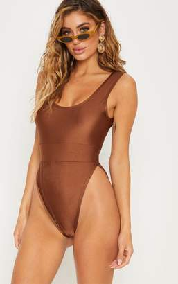PrettyLittleThing Chocolate Elasticated Waist Swimsuit
