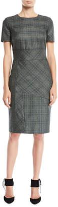 Kiton Short-Sleeve Paneled Plaid Cashmere-Blend Sheath Dress