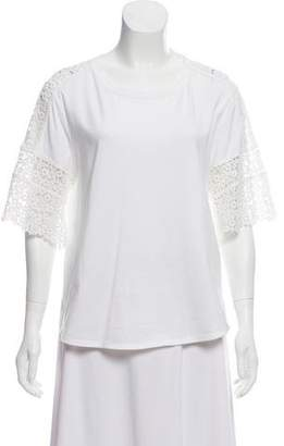 Chloé Lace Accented Short Sleeve Top