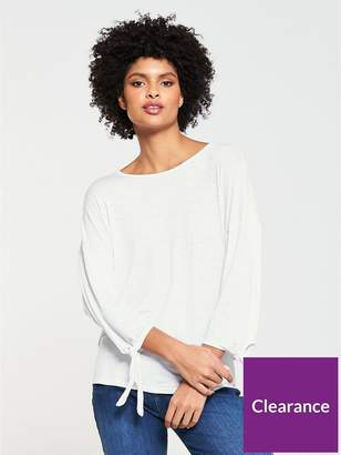 Very Long Sleeve Knot T-shirt - White