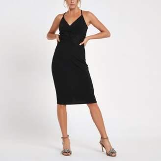River Island Black lace insert bodycon midi dress