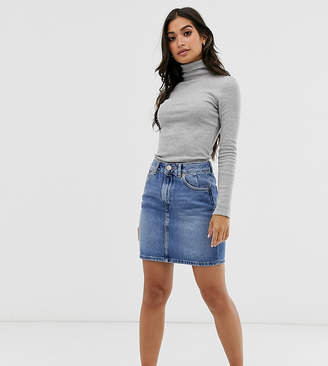 Asos DESIGN Petite denim original high waisted skirt in stonewash blue