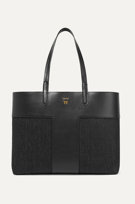 Tom Ford T Leather And Denim Tote - Black