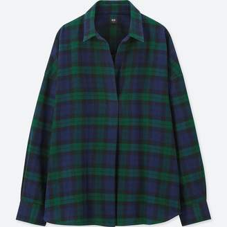 Uniqlo WOMEN Flannel Check Skipper Long Sleeve Shirt