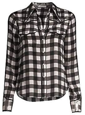 Alice + Olivia Women's Caleb Western Check Plaid Shirt