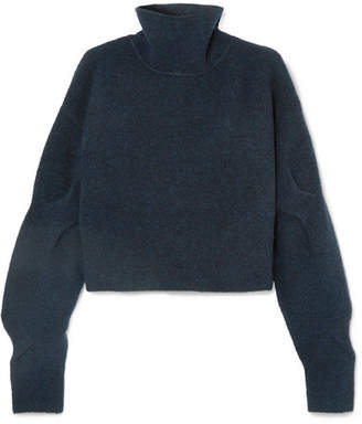 Alexander Wang Cropped Wool-blend Turtleneck Sweater - Petrol