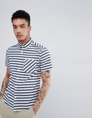 Original Penguin Neppy Bold Stripe Short Sleeve Shirt Buttondown Slim Fit Embroidered Logo in Navy
