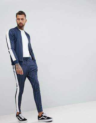 Couture The Club Muscle Fit Skinny Joggers In Pinstripe With Side Stripe