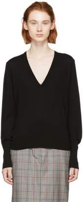 Proenza Schouler Black Wool V-Neck Pullover