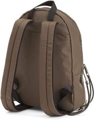 Medium Size Nylon Backpack With Logo Patch