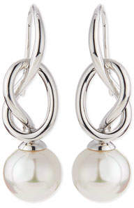 Majorica Pearl-Drop Silver Knot Earrings