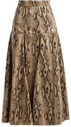 Msgm - High Gloss Snake Print Midi Skirt - Womens - Beige