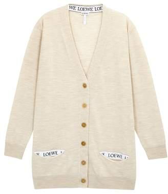 Loewe Oatmeal Wool Blend Cardigan