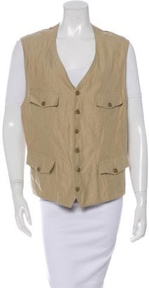 John Varvatos Metallic Button-Up Vest $70 thestylecure.com