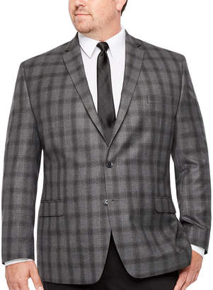 COLLECTION Collection by Michael Strahan Black Gray Plaid Classic Fit Sport Coat - Big and Tall