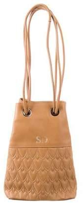 Reece Hudson Embossed Leather Drawstring Bag