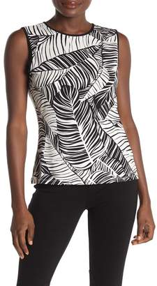 Calvin Klein Sleeveless Piped Leaf Print Knit Top