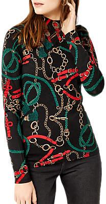 Warehouse Stirrup Print Polo Shirt, Black Pattern