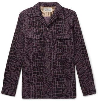 Wacko Maria Camp-Collar Printed Cotton-Corduroy Shirt
