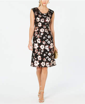 Connected Metallic-Print Sheath Dress