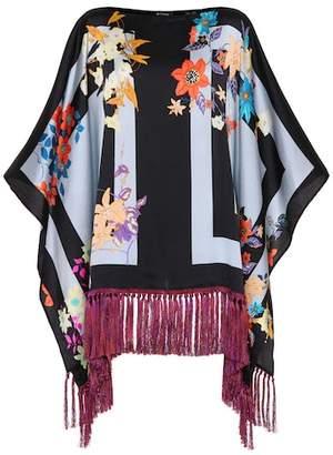 Etro Fringed silk poncho top