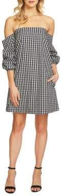 1 STATE 1.STATE Off-Shoulder Checkered Shift Dress