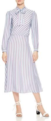Sandro Tame Striped Midi Dress