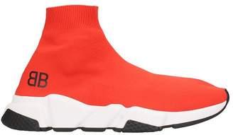 Balenciaga Speed Sneakers Red Fabric Belt