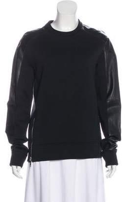 CNC Costume National Leather-Trimmed Crew Neck Sweatshirt