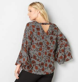 Avenue Floral Peasant Blouse with Cutout Back