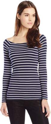 LAmade Women's Stripe Ronnie Off Shoulder Tee