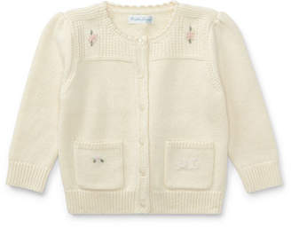 Ralph Lauren Wool-Blend Flower Embroidered Cardigan, Size 9-24 Months