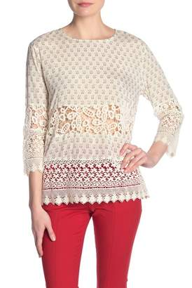 French Connection Honshu 3\u002F4 Sleeve Lace Inset Top
